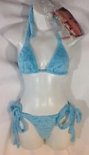 NEW 2PC J VALENTINE Bikini Bathing SwimSuit 1 SIZE Blue Faux Fur Polka Dot S M L