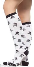 "NEW Sourpuss 17"" Girly Black Skull Pink Bow White Knee Socks Crossbones Punk"