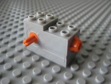 LEGO - Windup Motor 2 x 4 x 2 1/3 with Orange Release - Light Gray Part #61100
