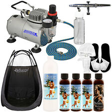 AIRBRUSH SUNLESS TANNING SYSTEM Kit Pint Simple Tan 12% DHA Solution Tent Acc