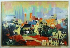 VINTAGE ABSTRACT MODERNIST CITYSCAPE OIL PAINTING Mid Century Modern Signed