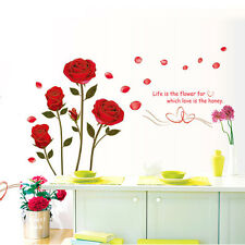 Romantic Rose Flowers Wall Decals Removable Wall Sticker Living Room Bedroom Hom