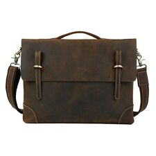 "Men's Real Leather Messenger Shoulder Bag 15"" Laptop Briefcase Business Satchel"