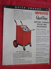 1945 QuickCharge BATTERY CHARGER TESTER, WELDER SHOP EQUIPMENT BROCHURE