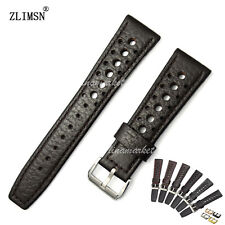 20mm 22mm Black or Brown 100% Genuine Leather Watch Band Strap Holes Wristband