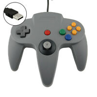 USB Wired Controller Joypad Joystick Gaming For Nintendo N64 64 PC Grey