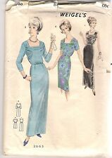 Weigel's Sewing Pattern 2665, Vintage Circa 1950's Hostess Gown Dress, Bust 34""