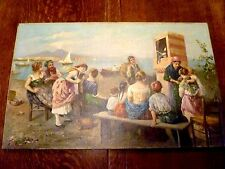 RARE! Antique ITALIAN Oil Painting PUNCH & JUDY SHOW Gulf of Naples SCOGNAMIGLIO