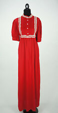 Vintage 1960s Red and White Glenbrooke Maxi Dress Size L