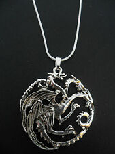 A LOVELY TIBETAN SILVER THREE HEADED  DRAGON THEMED  NECKLACE.