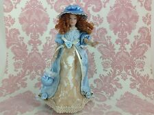 Dollhouse Miniature Porcelain Victorian Lady Poseable Ceramic Doll1:12 w/ Stand