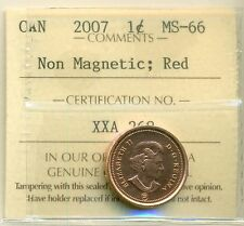 Canada 2007 One Cent ICCS Certified MS-66 Non Magnetic; RED