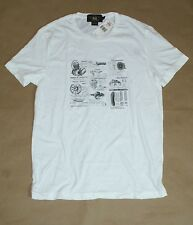 $95 RRL Double RL Ralph Lauren Men Vintage White Moto T-Shirt  Size: Small New