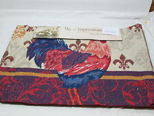 Home Impressions Set of 4 Tapestry Placemats 13x19 ROOSTER DAMASK - Red and Navy