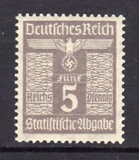 WWII NAZI GERMANY STATISTICAL LEVY REVENUE 5 RPf MINT NEVER HINGED FRESH