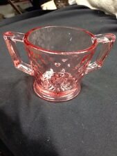 IMPERIAL GLASS CO. DIAMOND QUILTED PINK FOOTED Open Sugar