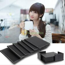 6 × Leather Double-deck Coasters Set Placemat of Cup Mat Pad with Coaster Holder