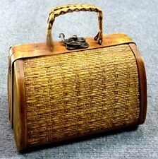 Vintage 60s Small Wood & Wicker Box Purse Hinged Woven Handmade Clutch