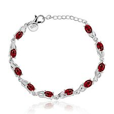 Ladies Jewelry Silver Created Ruby Red Crystal Bracelet With Cubic Zircons