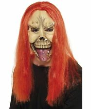 Halloween Punk Skull Mask Red Hair Piercings Fancy dress Accessory