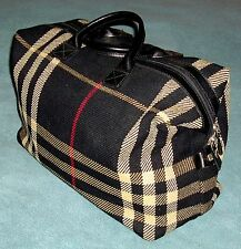 Genuine Vintage Burberry Black Travel Bag Leather Rare Design Prototype GORGEOUS