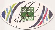 AUSTRALIA RUGBY: KURTLEY BEALE SIGNED WORLD CUP 2015 BEER MAT+COA *WALLABIES*