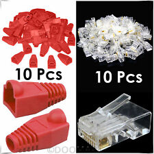 10x RJ45 Cat6 Cat5e Ethernet Cable Snagless Cover Boot+10x End Plug Connector
