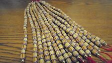 Vintage 8mm-10mm Yellow,White & Red Glass Chevron Tube Beads - 8""