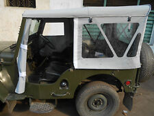 STITCHED SOFT TOP FOR JEEP WILLYS CJ3B CROSS HOOD STICK  IN BLACK & GRAY COLOUR