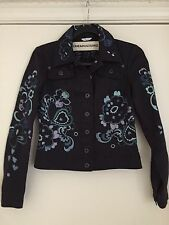 CHEAP And  CHIC Moschino  Made In Italy Embroidered Cotton /Linen Jacket US 4