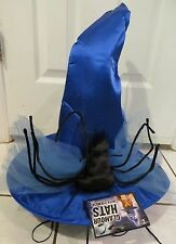 "14"" Tall Glamour BLUE SATIN Spiders Witch Hat w/ Eye-Mask Halloween Costume NWT"