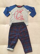 New Baby Boy Tea Collection Soft Cotton Outfit Set 6-12 Month Blue Red Top Pants