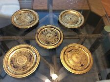 Antique Burmese Set Of 5 Gold Decorated Lacquer Plates