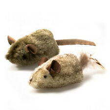 2x REAL MOUSE SOUND Funny Squeaking SOFT Cat Pet TOY False Rat Teaser Game Play