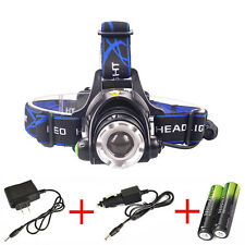 Zoomable 8000LM Headlamp CREE XM-L T6 LED Headlight Flashlight+Charger+Batteries