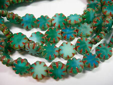 25 beads - Turquoise Mix Picasso Czech Glass Flower Beads 9mm