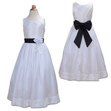 New White and Black Sash Bridesmaid Party Flower Girl Dress 7-8 Years
