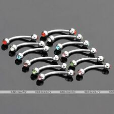 12pcs 16G Stainless Steel Crystal Gem Curved Bar Barbell Eyebrow Ring Piercing