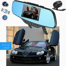 "4.3"" HD 1080P In-Car Dual Lens Rear View Mirror Dash DVR Recorder Camera Monitor"