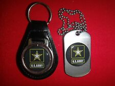 US ARMY Black Leather Key Ring + Matching Dog Tag *New*