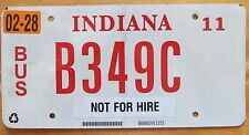 Indiana 2011 NOT FOR HIRE BUS License Plate NICE QUALITY # B349C