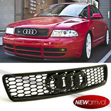 For: 96-01 A4 S4 B5 Euro RS4 Style Black ABS Honeycomb Hood Bumper Grill Grille