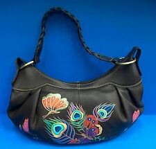 NEW ANUSCHKA BUTTERFLIES SIGNED & INITIAL LEATHER WOMEN HANDBAG