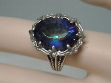 10ct blue mystic topaz filigree antique 925 sterling silver ring size 6.5 USA
