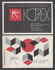 POLAND 1974 Matchbox Label - Cat.G#358/59 Overseas Mine Construction CO, KOPEX