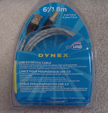 New Dynex USB 2.0 Device A Male to B Male Gold Plated Connectors Cable, 6'/1.8 m