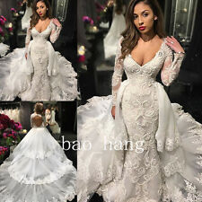 Mermaid Wedding Dress Lace Open Back Long Sleeve V Neck Tiered Train Bridal Gown