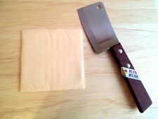 """QUALITY SMALL CLEAVER  KIWI BRAND WOOD HANDLE KITCHEN TOOL BLADE 3.0"""" STAINLESS"""