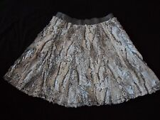 BNWT **Faux Fur** by **UNREAL FUR** Silver Grey Skater Skirt Size S - UK 8 - 10