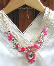 "NEW Pink Resin Crystal Bubble Bib Statement Bubble Necklace Women's Party 18"" US"